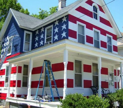 house painted like american flag